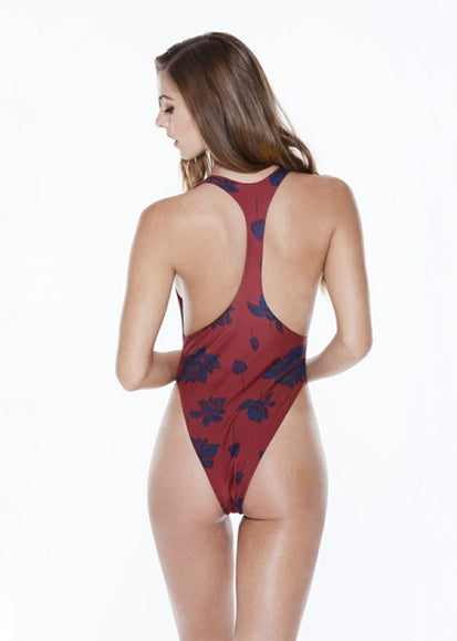 Free Shipping -- Burgundy Floral Print Hollow Out in Back Monokini