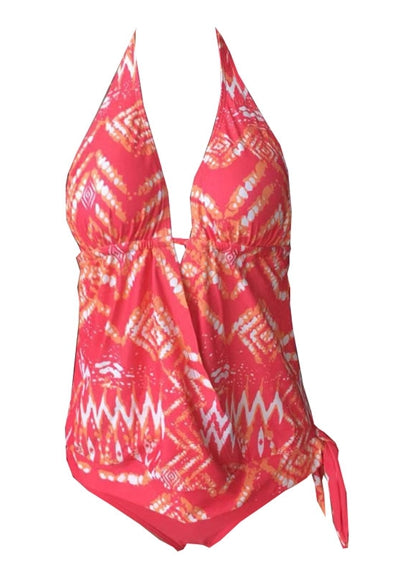 Free Shipping -- Floral Print Hollow out in Back Halter Monokini