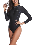 Free Shipping -- Black Women Swimsuit with Zipper Monokini