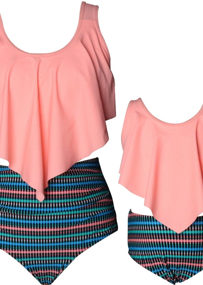 Free Shipping -- Pink/Stripe Ruffle High Waisted Swimwear Mommy & Me