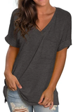 Free Shipping -- Dark Grey Fashion Women Basic V Neck with Pocket Tank Tops Side Split T Shirts