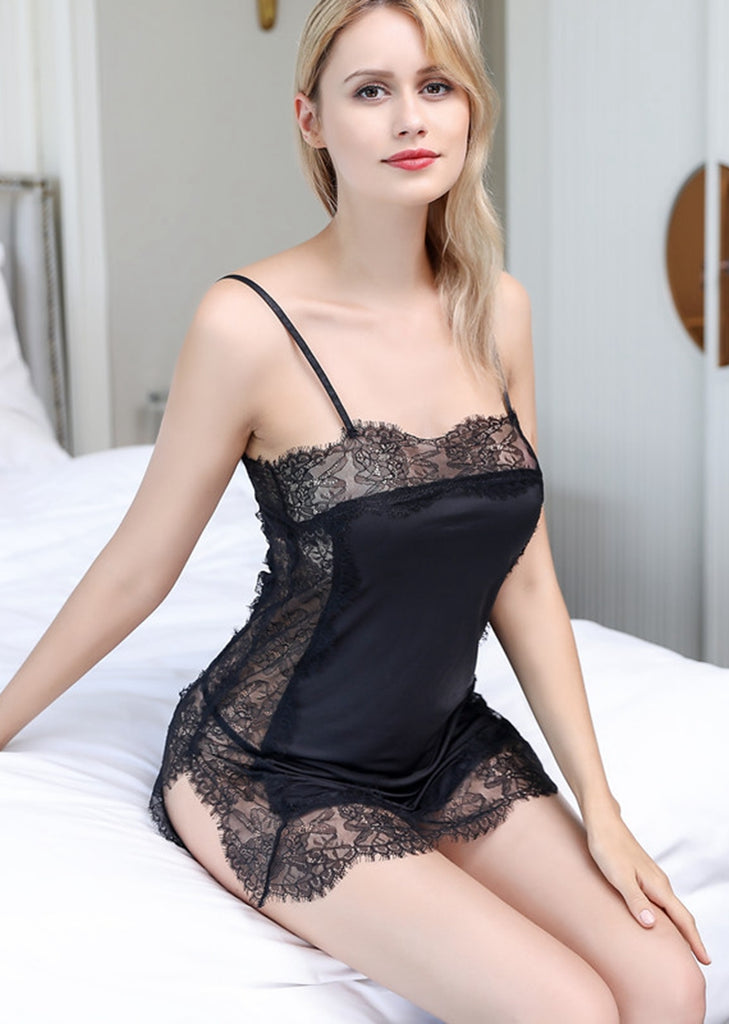 Free Shipping -- Lingerie Nighties Black Lace Hem Sleepwear Nightdress