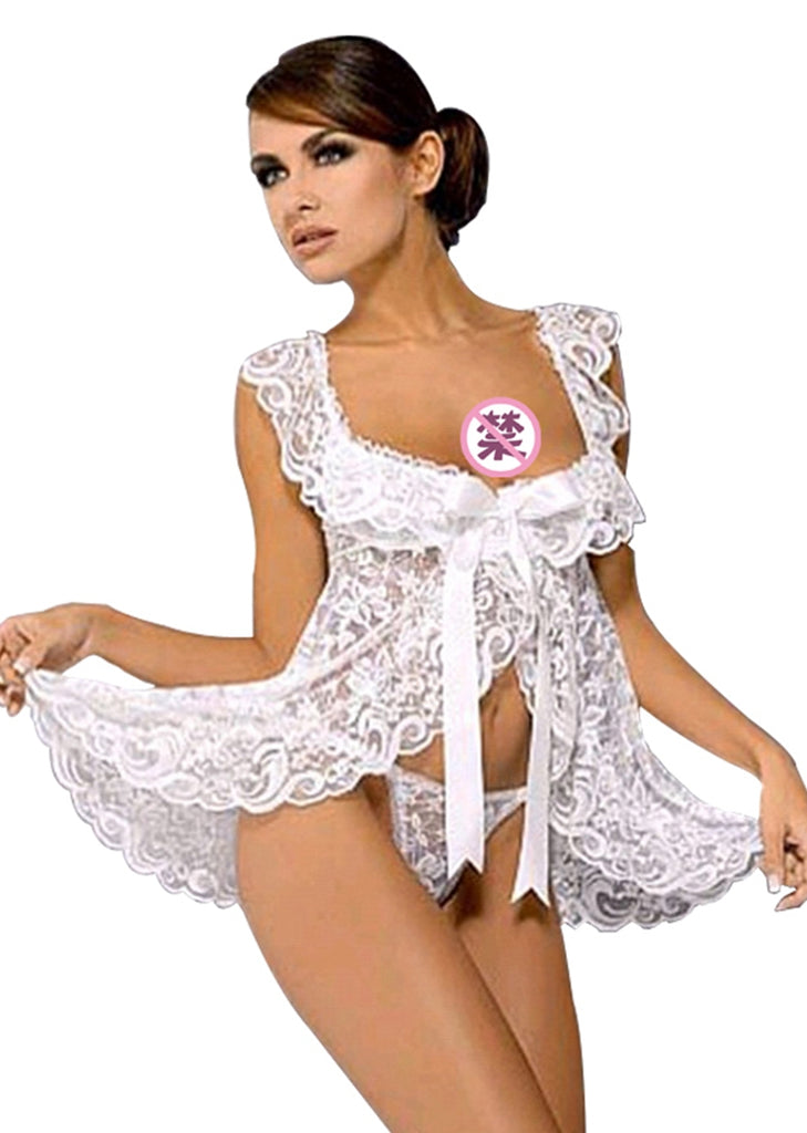 Free Shipping -- Lace Lingerie Bowknot Open Front Babydoll Set