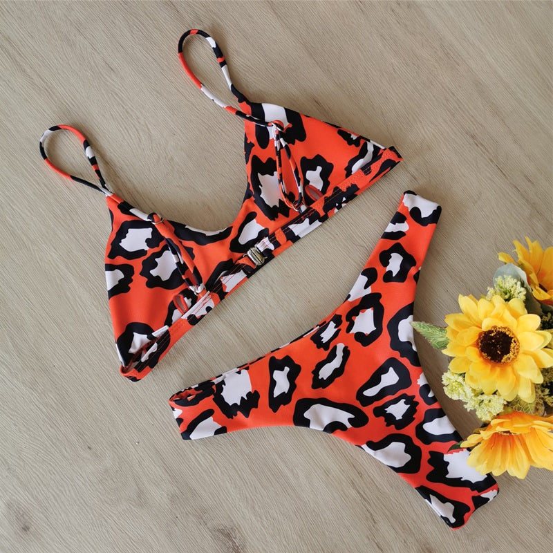 Free Shipping -- Women Leopard Print Spaghetti Straps Bandeau Sexy Two Piece Swimsuit