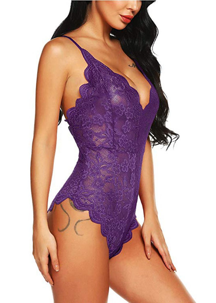 Free Shipping -- Purple Lace Embroidered V-Neck Cross Back Teddy Bodysuits Lingerie