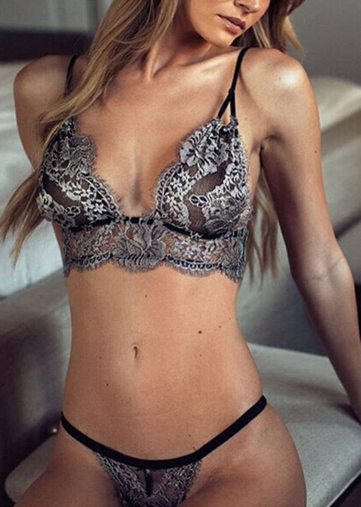 Free Shipping -- Silver Lace Thong Shoulder Straps Bralette Lingerie Set