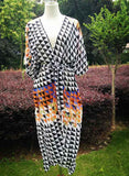 Free Shipping -- Gradient Triangel Print MaxiCardigan Cover Ups