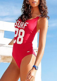 Free Shipping -- Letter Print Cross In Back Monokini