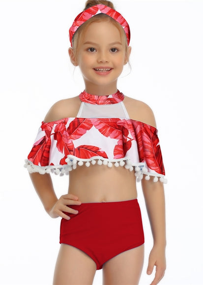 Free Shipping -- Red Leaf Print Off Shoulder Tassels Swimwear Mommy & Me