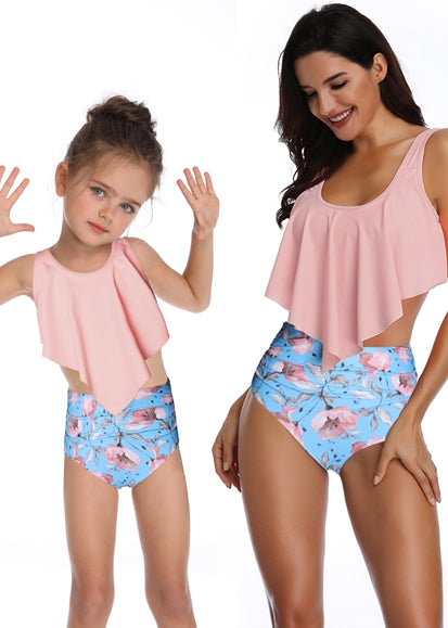 Free Shipping -- Pink/Blue Peach Blossom Flower Print Ruffle High Waisted Swimwear Mommy & Me