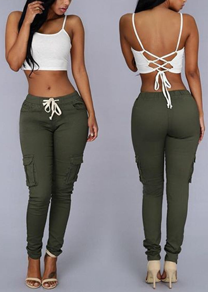 Free Shipping -- Women Fashion Elastic Penci Pants Trousers with Pockets