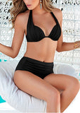 Free Shipping -- Women Sexy Solid Folds Triangle Halter Bikini Set
