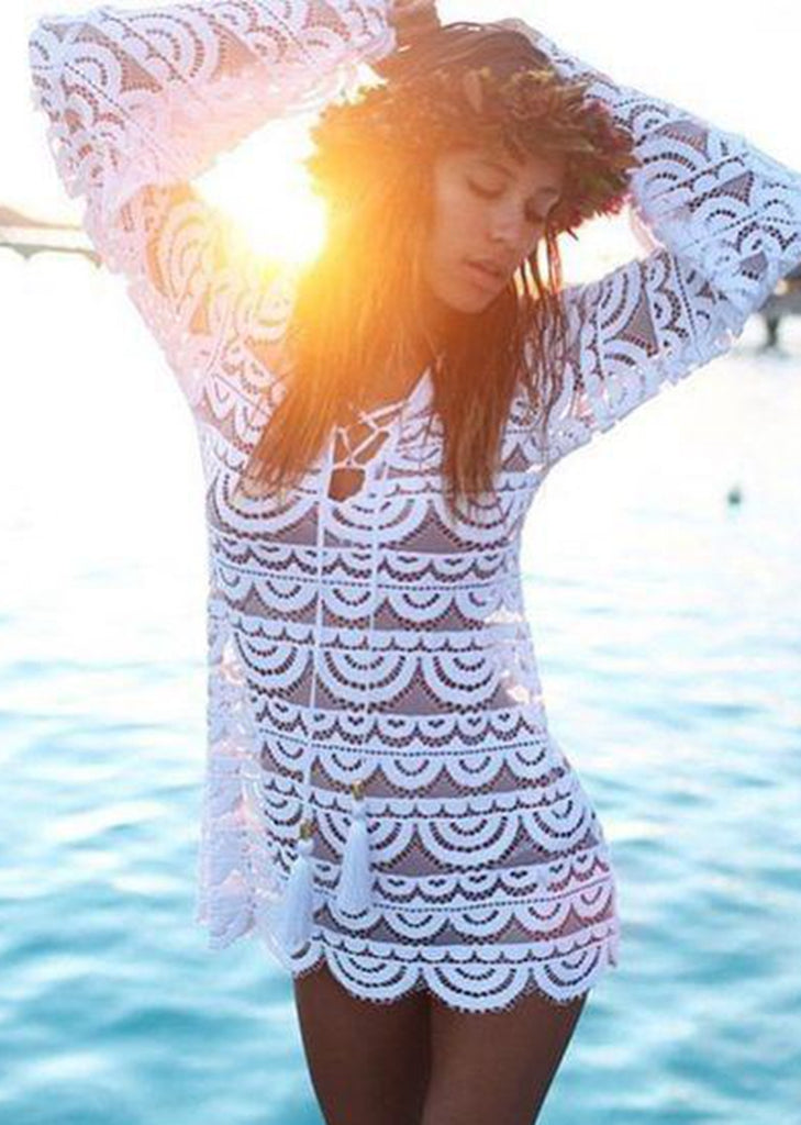 Free Shipping -- Solid Lace Long Sleeve V-Neck Bandage Beach Dress