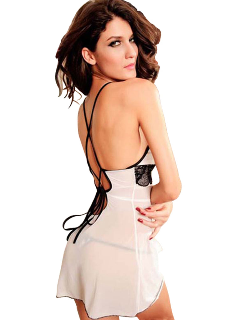 Free Shipping -- White Lace Lingerie Backless Chemise Set