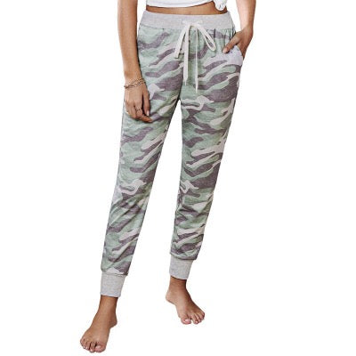 Free Shipping -- Women Camo Joggers Pants Casual Drawstring Stretch Trousers