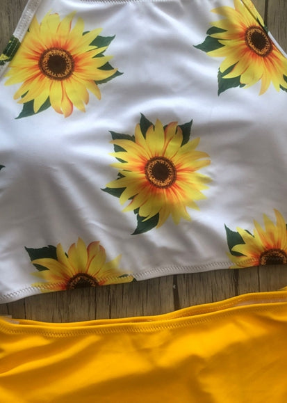 Free Shipping -- Yellow Floral Print High Waisted Tankini