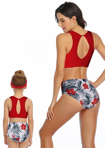Free Shipping -- Red Leaf Print High Waisted Swimwear Mommy & Me