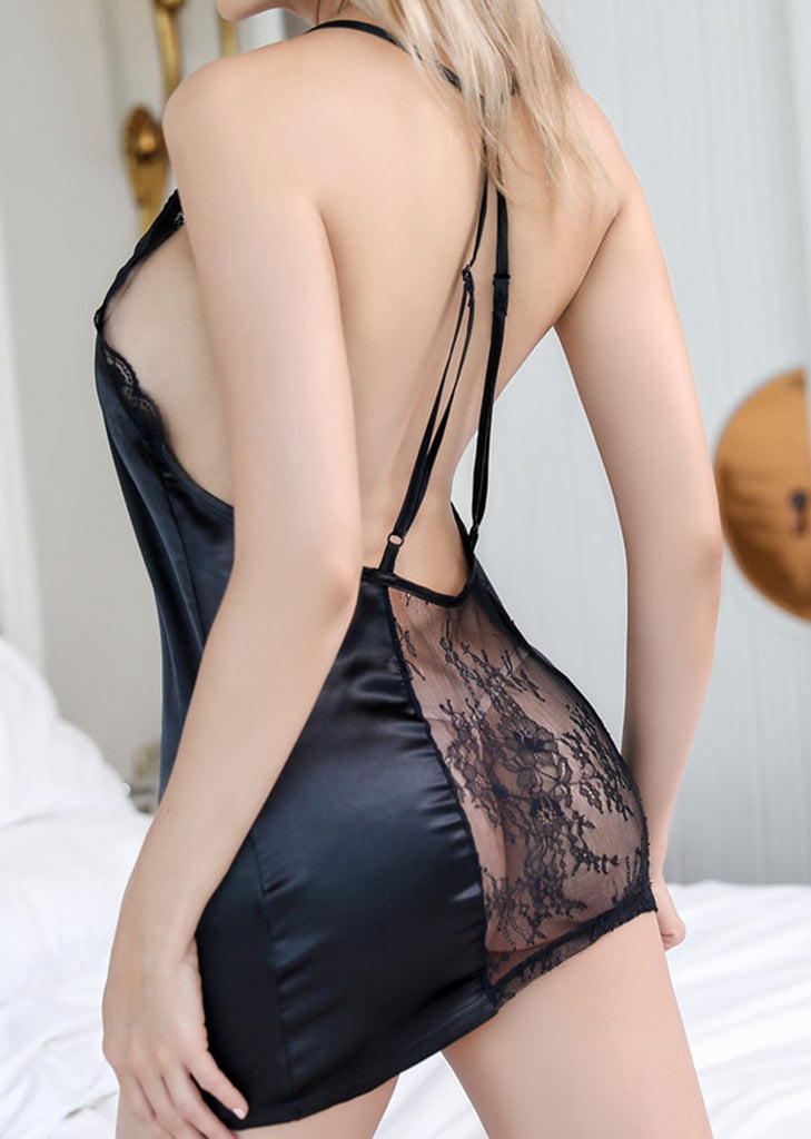 Free Shipping -- Black Lace Dress Backless Lingerie Nightdress