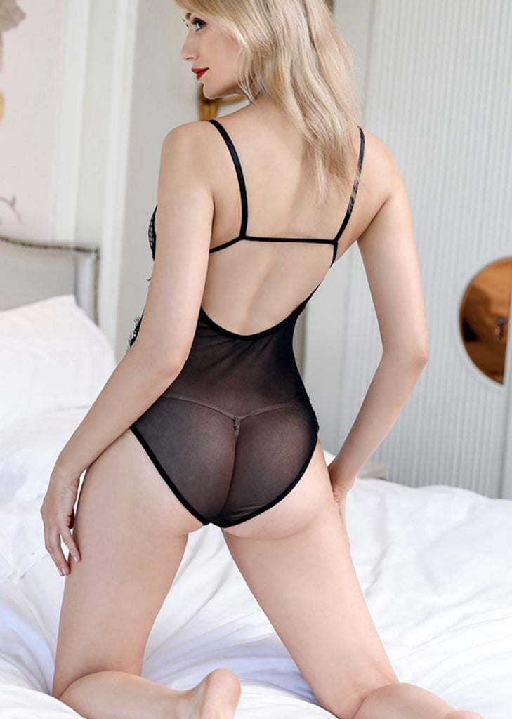 Free Shipping -- Women Lingerie Set Black Lace Backless Teddy Bodysuits