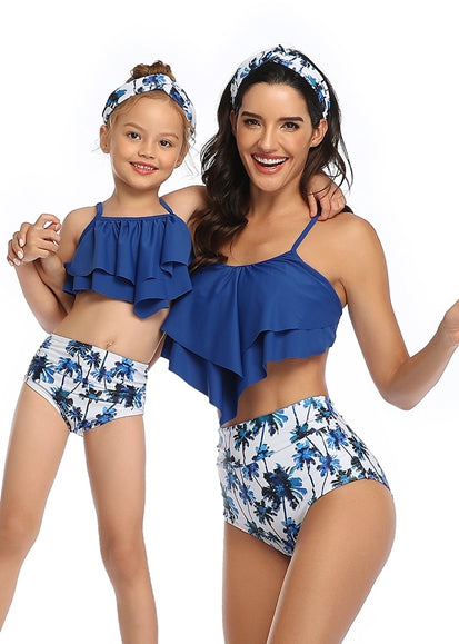Free Shipping -- Blue Floral Print High Waisted Swimwear Mommy & Me