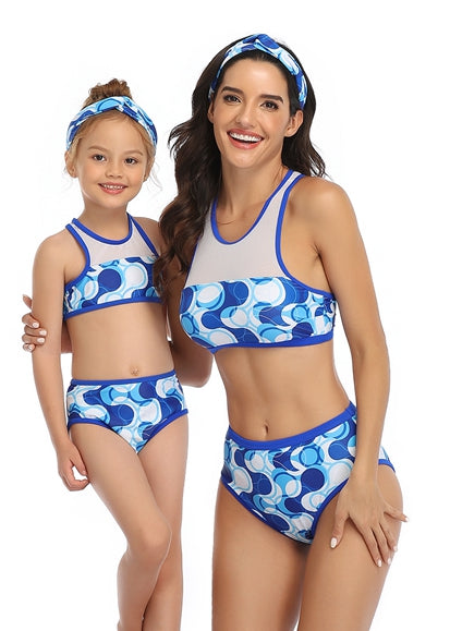 Free Shipping -- Blue Dots Print Swimwear Mommy & Me