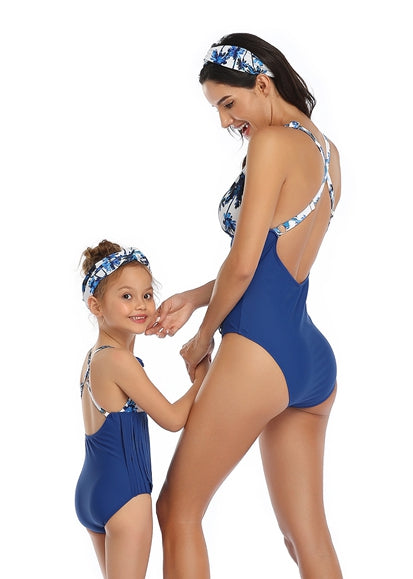 Free Shipping -- Blue Tassels Halter Swimwear Mommy & Me