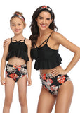 Free Shipping -- Leaf Print Cut Out Ruffle High Waisted Swimwear Mommy & Me