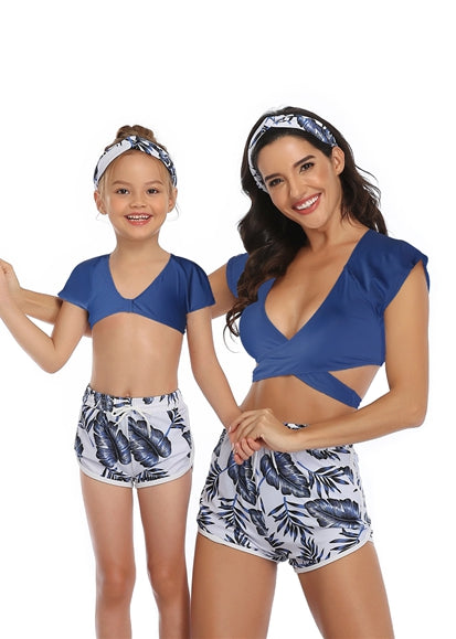 Free Shipping -- Blue Leaf Print Short Sleeve Swimwear Mommy & Me