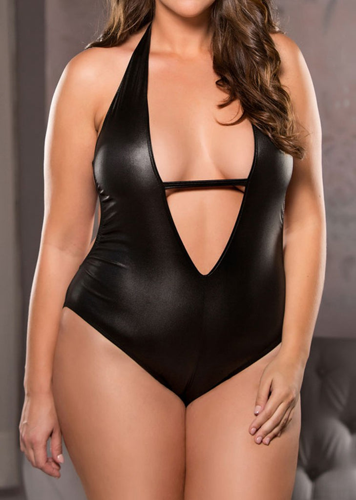 Free Shipping -- PU Leather Plus Size Lingerie Deep V-Neck Halter Teddy Bodysuit