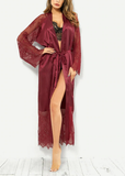 Free Shipping -- Long Sleeves Lace Embroidered Maxi Lingerie Robe