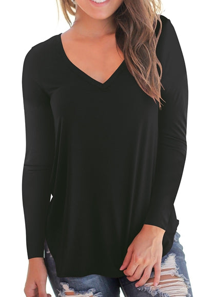 Free Shipping -- Black Basic V Neck T Shirts Side Split Long Sleeve Tunic Tops