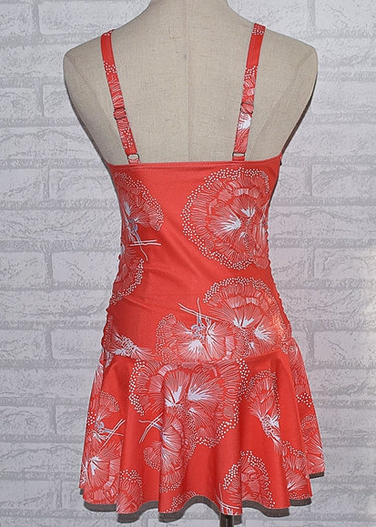 Free Shipping -- Red Ethnic Style V-Neck  Swim Skirt Monokini