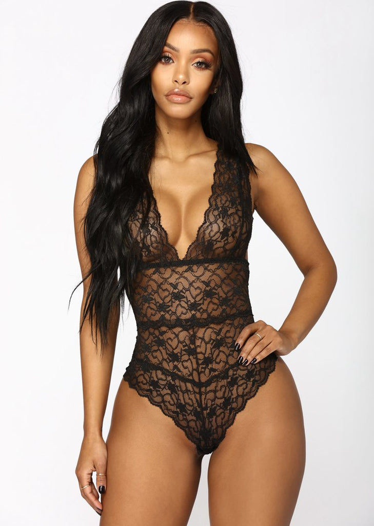 Free Shipping -- Solid Lace Deep V-Neck Mesh Lingerie Teddy Bodysuit