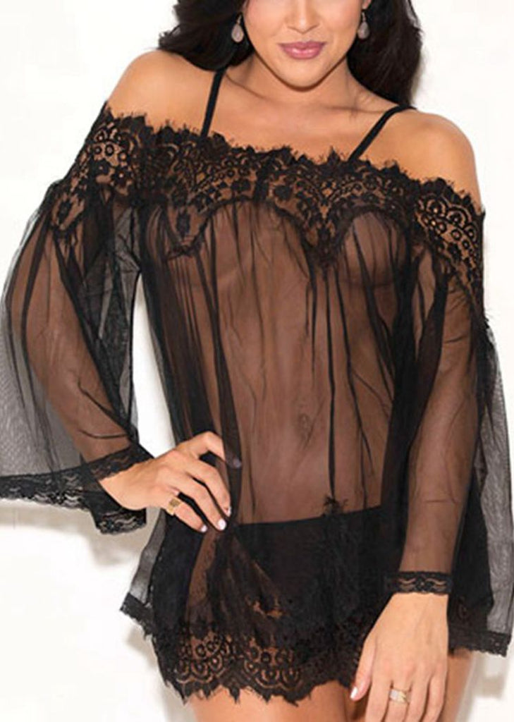 Free Shipping -- Solid Lace Square Neck Off Shoulder Cami Lingerie