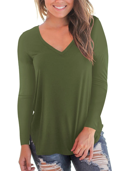 Free Shipping -- Green Basic V Neck T Shirts Side Split Long Sleeve Tunic Tops