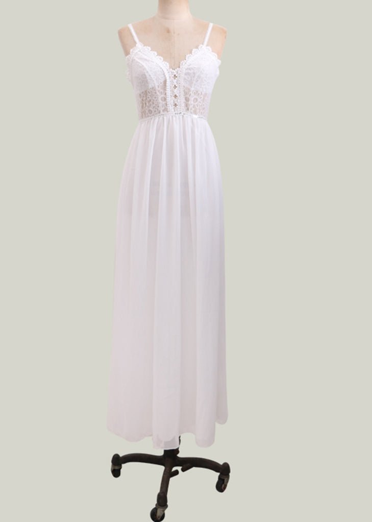 Free Shipping -- White Chiffon Backless Party Wedding Dresses Maxi Camisole Lace Dresses