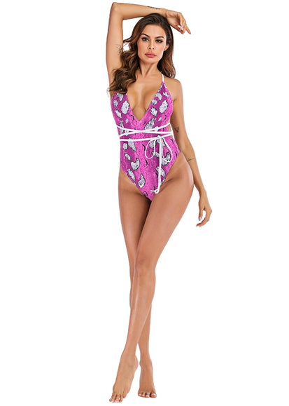 Free Shipping -- Sexy Snakeskin Print Plunge Neck Halter Monokini String Knotted