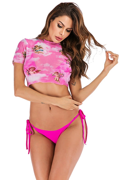 Free Shipping -- Angel Cupid Print Triangle Bikini Set & Cover Ups
