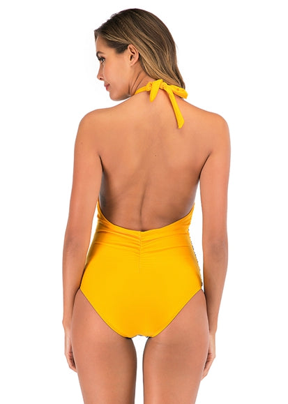 Free Shipping -- Yellow Stripe Hollow out in Back Halter Monokini
