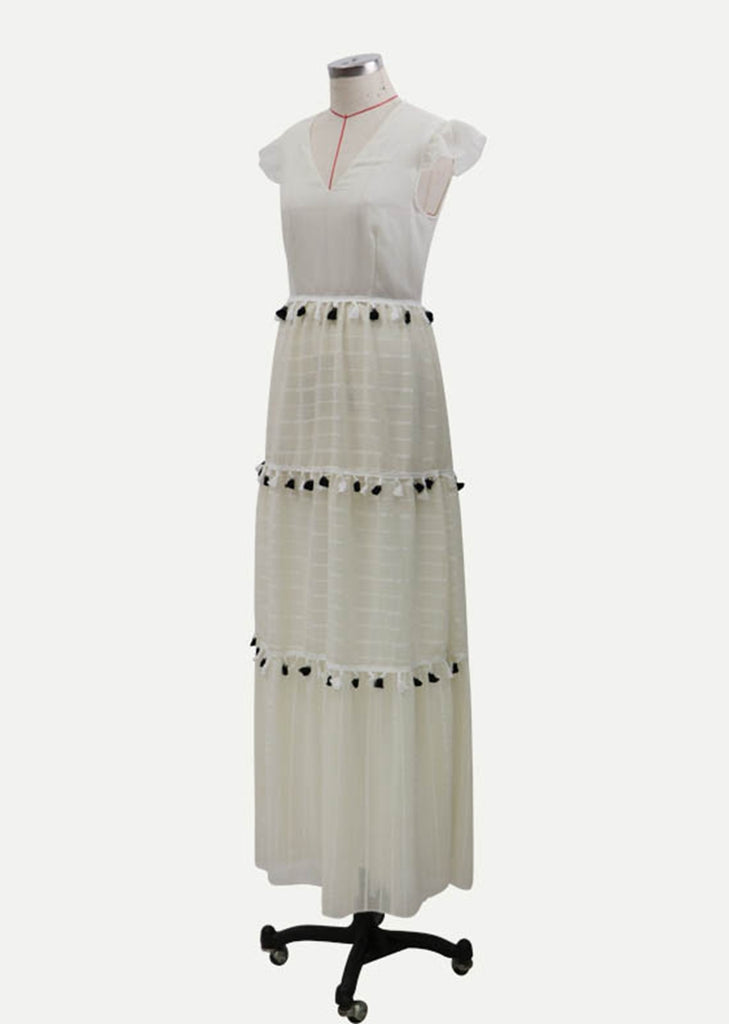 Free Shipping -- Summer Ruffle Sleeve V-Neck Maxi Beach Dress with Tassel