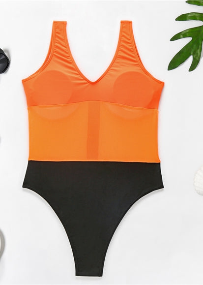 Free Shipping -- Sexy Color Block Print Chest Zipper Monokini Swimsuit