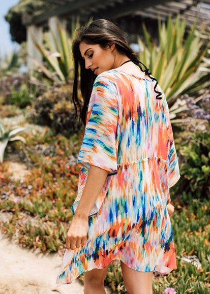 Free Shipping -- Multicolor Tie Dye Sexy Deep V-Neck Short Cover Ups