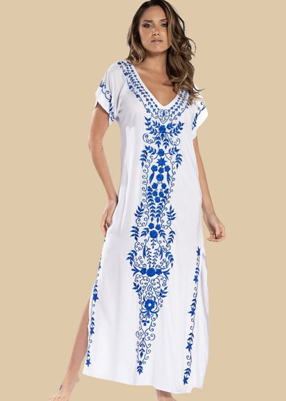 Free Shipping -- Floral Print V-neck Split Maxi Swimsuits Embroidered Cover Ups