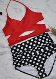 Free Shipping -- Flower Print Halter Wrap Cross Strap High Waisted Bikini