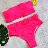 Free Shipping -- Sexy Bandeau High Waisted Bikini With Belt