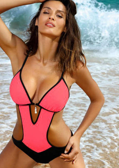 Free Shipping -- Sexy Color Block Tie Straps Cut out Monokini