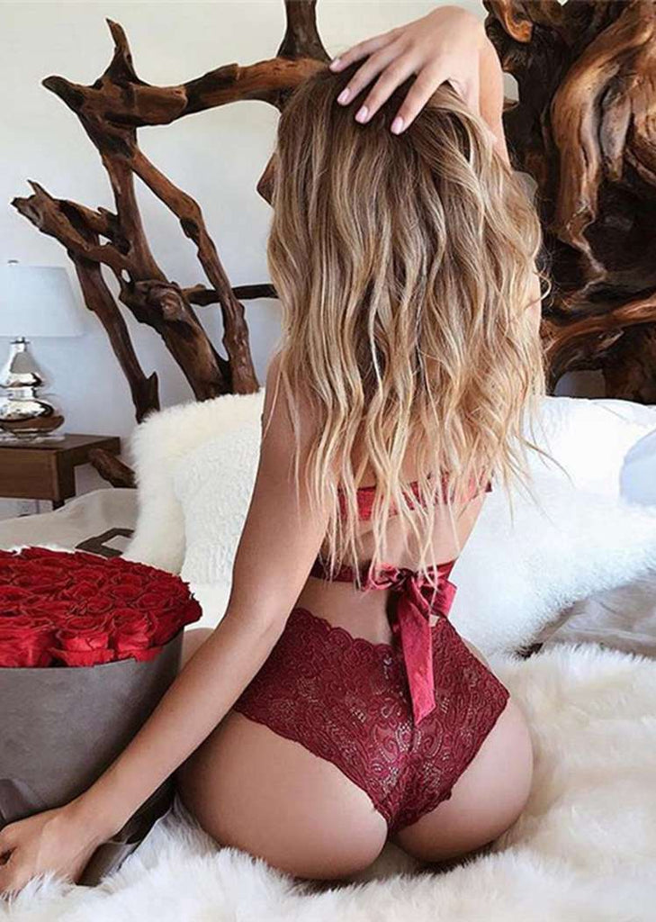 Free Shipping -- Red Bow Tie High Waisted Bralette Lingerie Set
