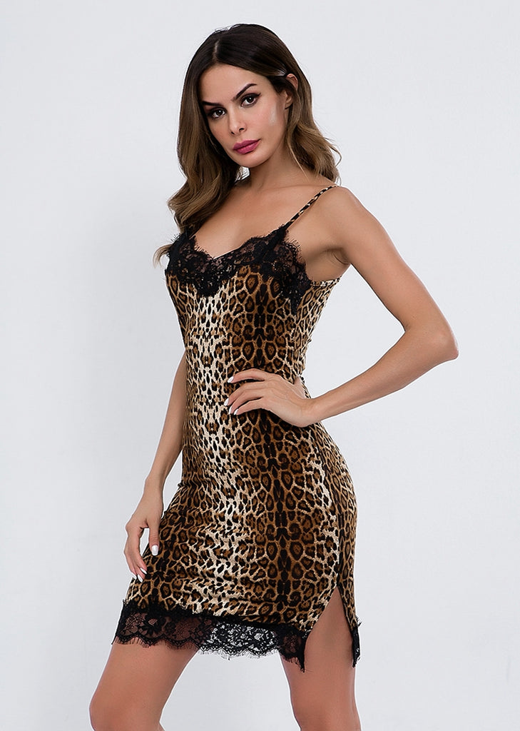 Free Shipping -- Camisole Lingerie Leopard Print Lace Nighties