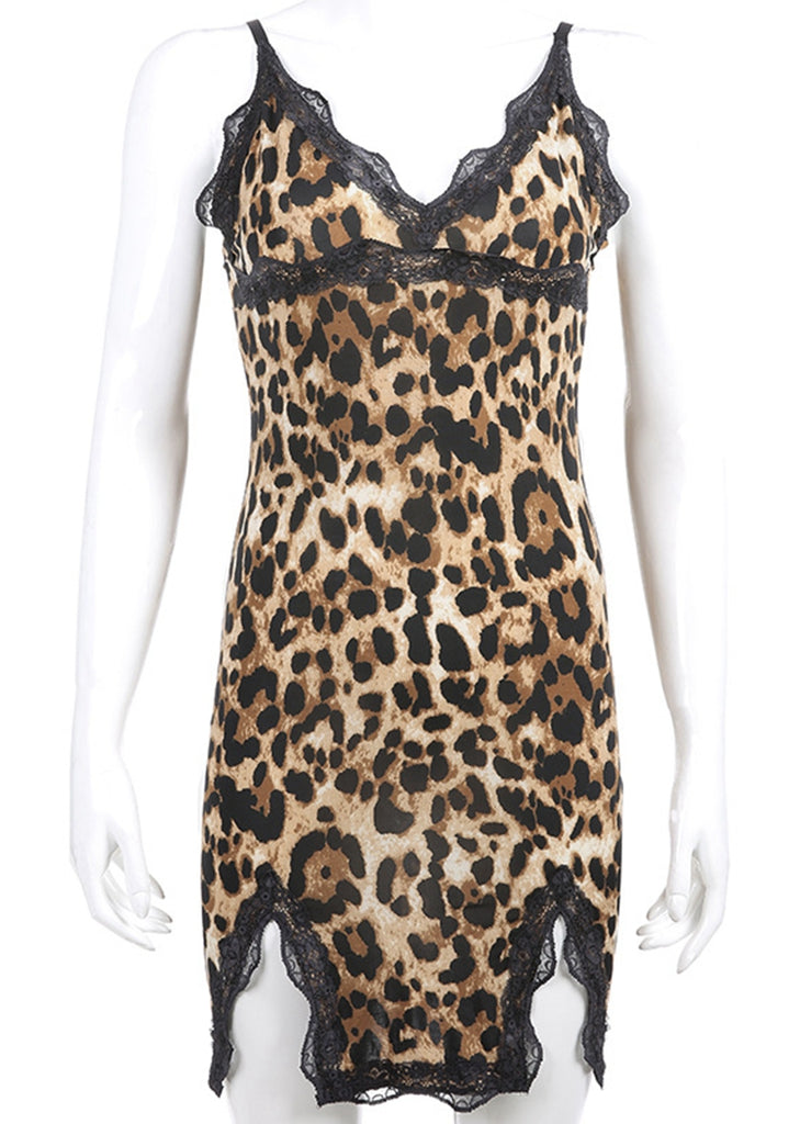 Free Shipping -- Leopard Print Camisole Bodycon Dress V-Neck Lace Nighties Sleepwear