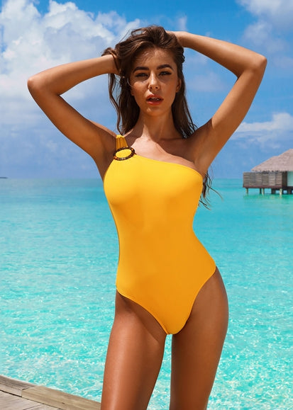 Free Shipping -- Yellow One Shoulder With Ring Monokini